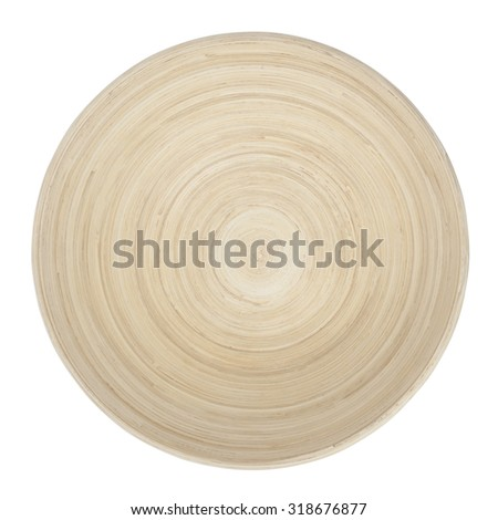 Empty Wooden Bowl isolated on white, top view