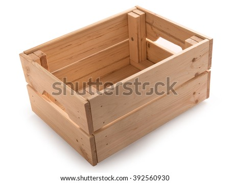 Empty wooden box isolated in a white background