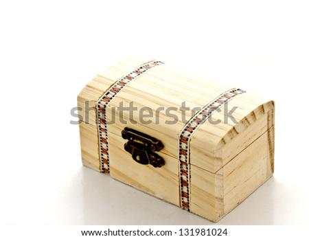 empty wooden box on white background - stock photo