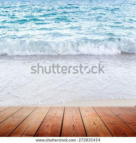 Empty wooden bridge and sea background - stock photo