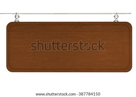 Empty wooden cartel isolated over white, 3d render, horizontal image - stock photo