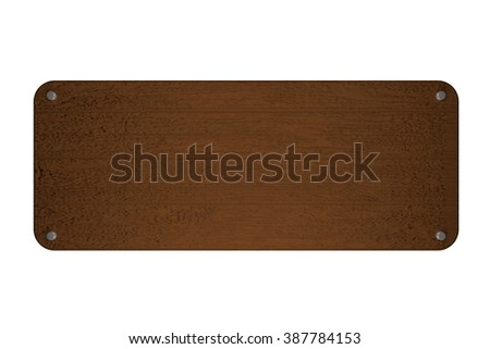 Empty wooden cartel isolated over white, 3d render, horizontal image