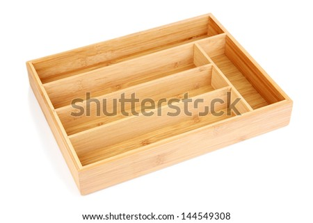 Empty wooden cutlery box isolated on white - stock photo