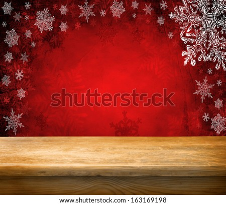 Empty wooden deck table with summer christmas background. Ready for product display montage.  - stock photo