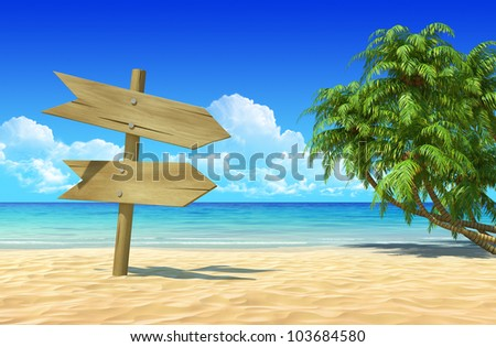Empty wooden double signpost to place your logo, product or text. Palms on idyllic tropical sand beach. Clean, extremely detailed 3d render. Concept for rest, holidays, resort, spa background. - stock photo
