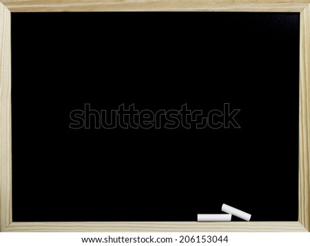 empty wooden frame blackboard and white chalk isolated on a white background - stock photo