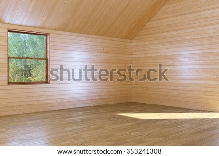 Empty wooden interior room with opened window and sunshine from it.  3D render