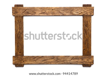empty wooden photo frame isolated on white - stock photo