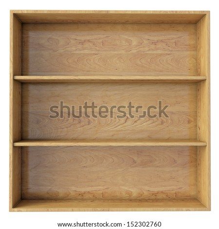 empty wooden shelf isolated on white background - stock photo