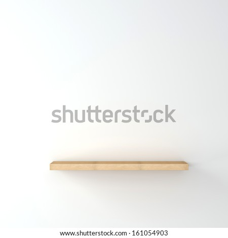 Empty wooden shelf on a white wall