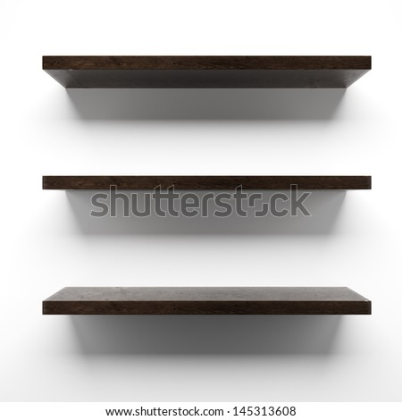 Empty wooden shelves on wall - stock photo