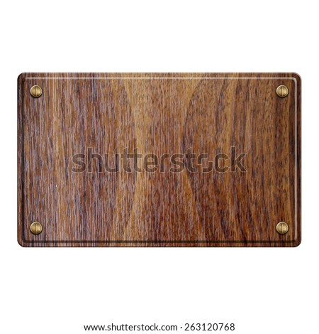 empty wooden sign isolated on white - stock photo