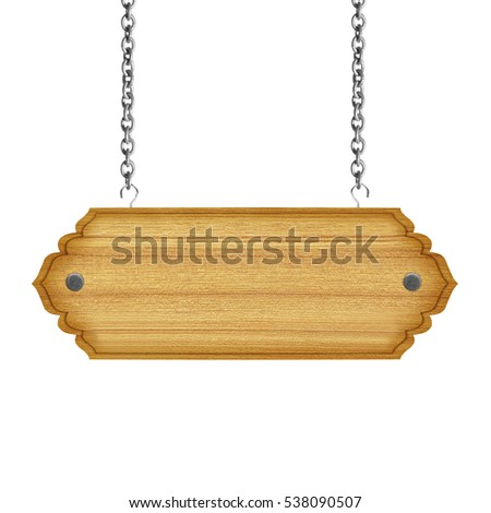 empty wooden sign with chain isolated on white  background
