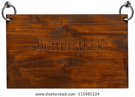 Empty Wooden Signboard with clipping path / Dark Brown Wooden sign hanging on to two steel ring isolated on white - stock photo