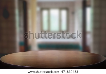 Empty wooden table and room interior decoration background, product montage display,window background.