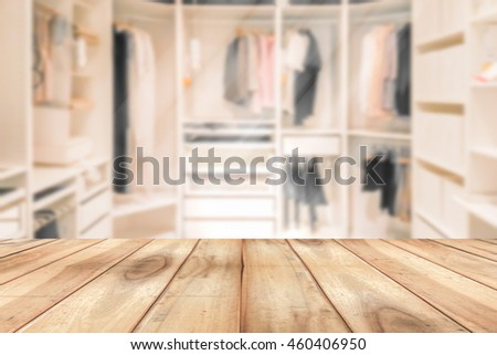 Empty Wooden Table On A Background Blur Closet In The Room For Display Or Montage Your