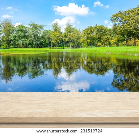 Empty wooden table with blur landscape background - stock photo