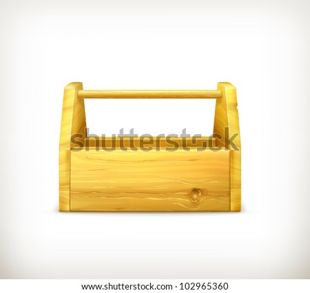 Empty wooden toolbox, bitmap copy