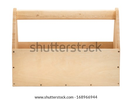 Empty wooden toolbox isolated on white - stock photo