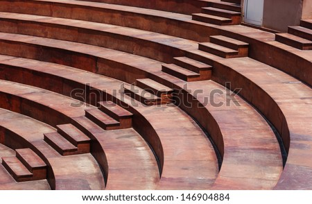 empty wooden Tribune outdoor amphitheater - stock photo