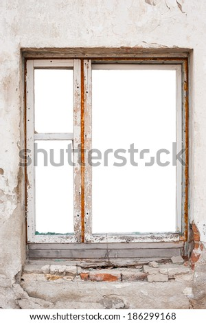 Empty wooden window frame wall - stock photo