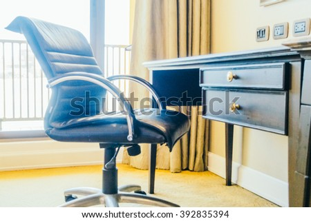 Empty working table and chair decoration in bedroom interior - Vintage Light Filter