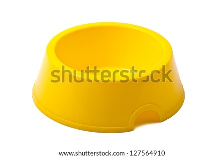 Empty yellow bowl isolated on white background - stock photo