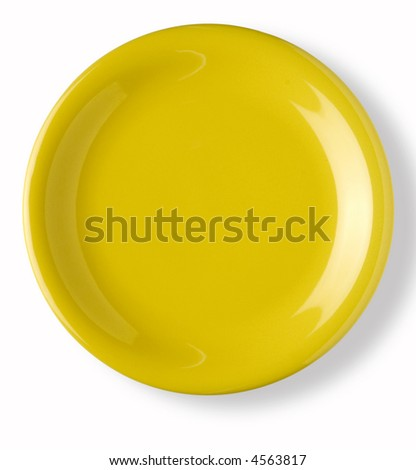 empty yellow dish over white background with shadow