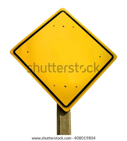 Empty yellow road traffic sign template with copy space isolated on white background. - stock photo