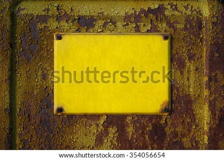 empty yellow sign on the facade of a house - stock photo