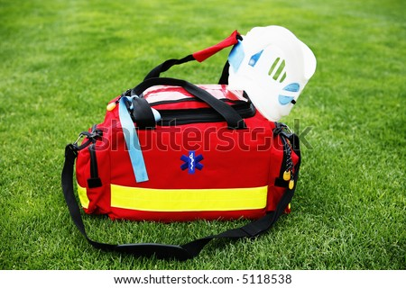 EMT - Paramedic - Medical bag with surgical collar - stock photo