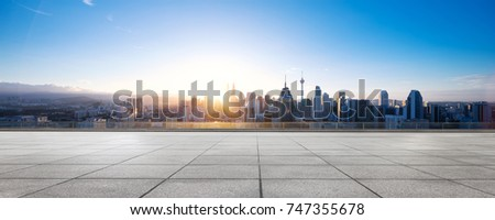 emtpy marble floor and cityscape of kuala lumpur at sunrise