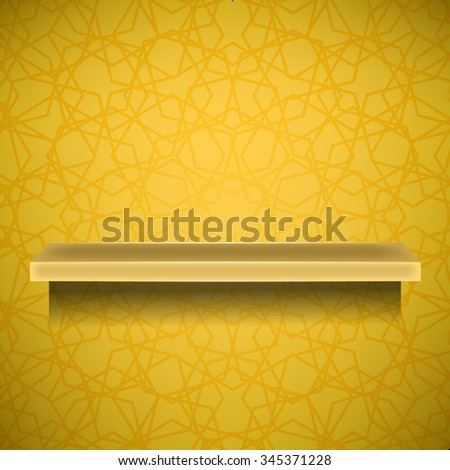 Emty Yellow Shelf on Ornamental Yellow Lines Background - stock photo