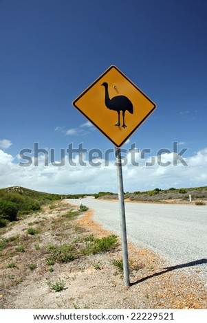 Emu Road Sign - stock photo