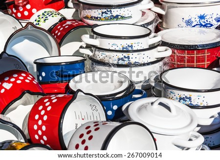 Enamelled kitchenware on display at a market stall, Belgrade, Serbia