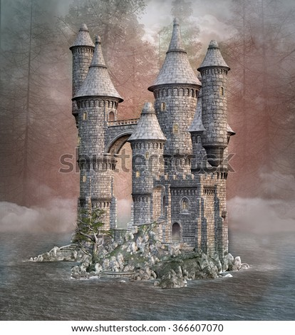 Enchanted fantasy castle in a hazy lake - stock photo