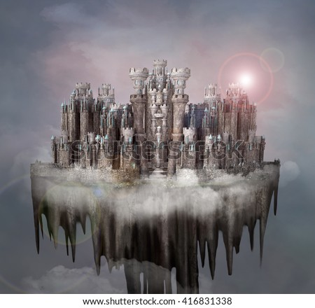 Enchanted fantasy castle over the clouds - 3D and digital painted illustration - stock photo