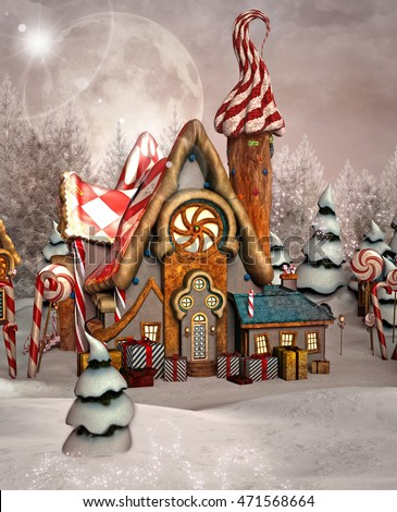 Enchanted gingerbread house in a winter scenery - 3D illustration