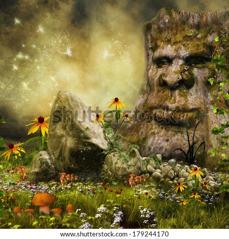 Enchanted meadow with a fairy tree, mushrooms and colorful flowers - stock photo