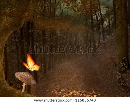 Enchanted nature series - autumnal forest - digital painted style - stock photo