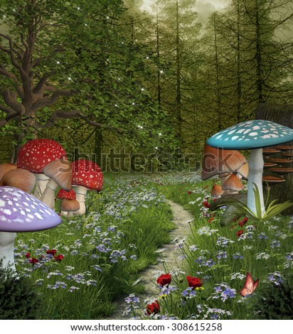 Enchanted nature series - Pathway in the green fantasy forest - stock photo