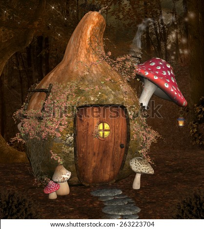 Enchanted pumpkin house - stock photo