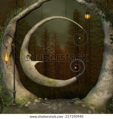 Enchanted swing in the middle of the forest - stock photo