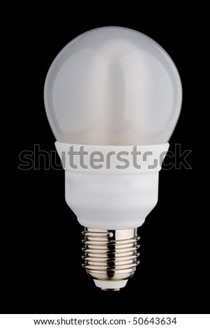 Enclosed fluorescent light bulb separated on black - stock photo