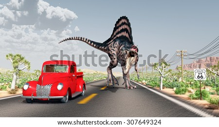 Encounter on Route 66 Computer generated 3D illustration - stock photo