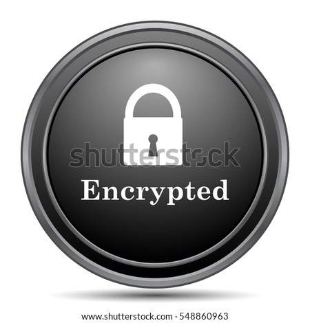 Encrypted icon, black website button on white background.