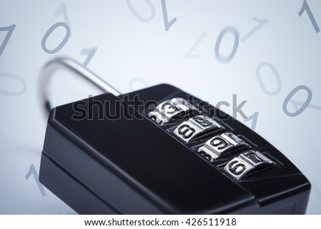 Encryption concept image. Lock on falling numbers background - stock photo