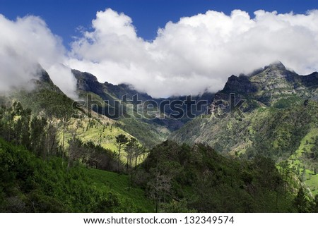 Encumeada pass and mountains,Madeira island - stock photo