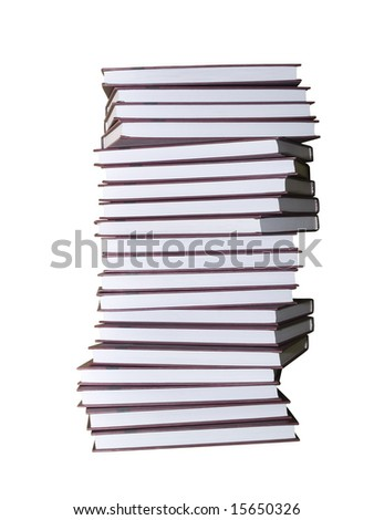 encyclopaedic books pile isolated on white with clipping path