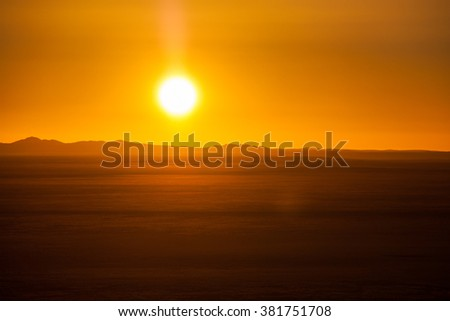 End of a Safari-day, Sunset above desert in Africa